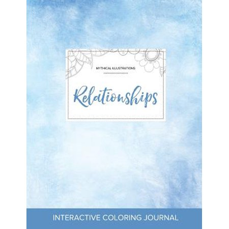 adult coloring journal relationships mythical illustrations clear skies