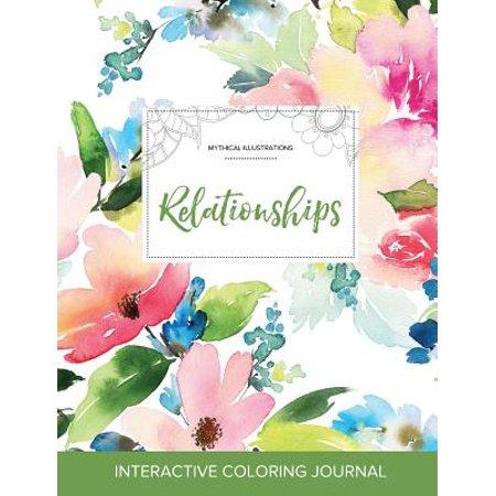 adult coloring journal relationships mythical illustrations pastel floral