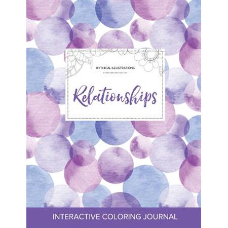 adult coloring journal relationships mythical illustrations purple bubbles
