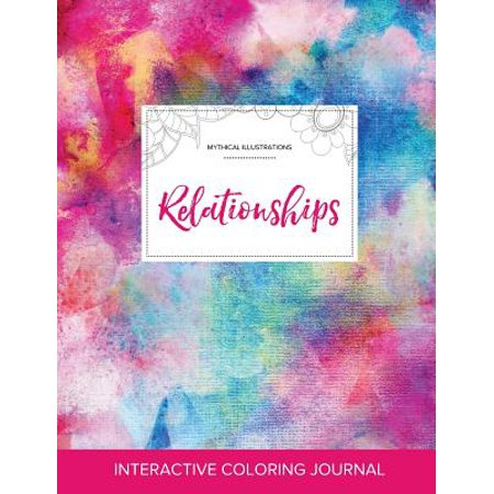 adult coloring journal relationships mythical illustrations rainbow canvas