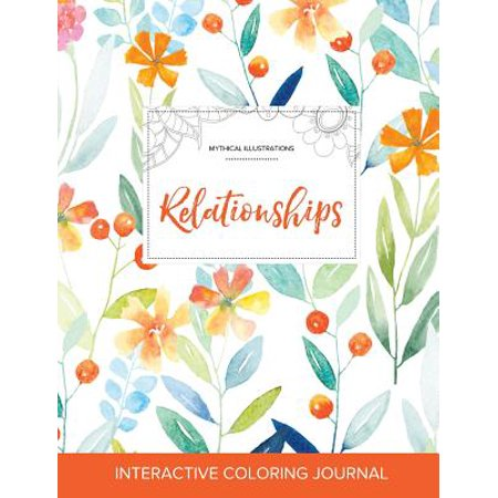 adult coloring journal relationships mythical illustrations springtime floral