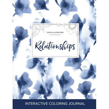 adult coloring journal relationships turtle illustrations blue orchid