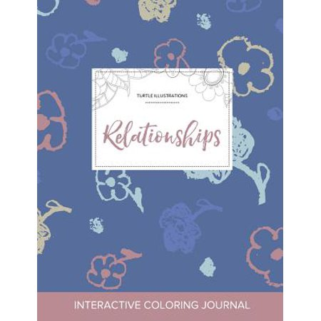 adult coloring journal relationships turtle illustrations simple flowers